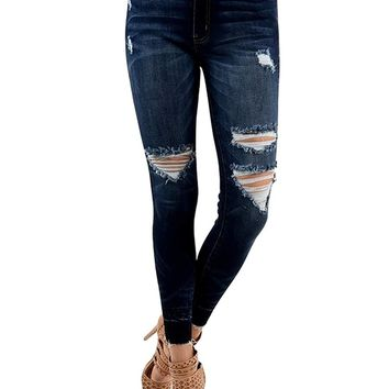 KAN CAN Women's High Rise Destroyed Cropped Skinny Jeans KC6180