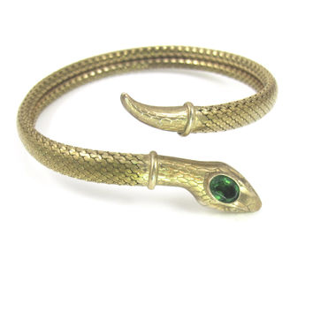 Art Deco Snake Bracelet, Egyptian Revival 1920s Snake Jewelry, Mesh Coiled Wrap Armband Emerald Paste Stone