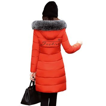 parka mujer basic jackets windbreaker women faux leather fur coat Hooded winter long jacket slim parkas inverno para as mulheres