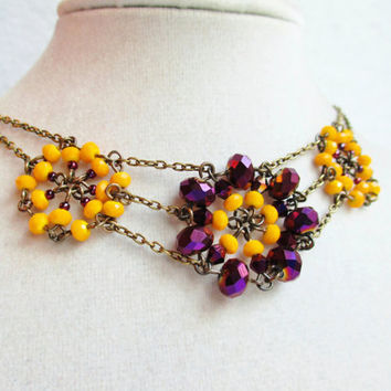 Dark Purple & Mustard Yellow Beaded Crystal Flower Necklace