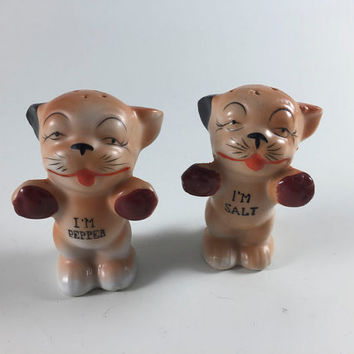 Vintage Bonzo the Dog Ceramic Brown Salt And Pepper Shakers Made In Japan, I'm Pepper, I'm Salt
