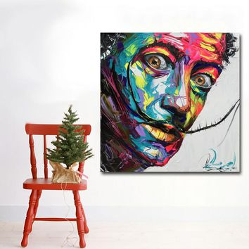 Abstract Art Prints Colorful Faces Of Salvador Dali Oil Painting Wall Art Canvas Printing Poster and Print for Living Room Decor