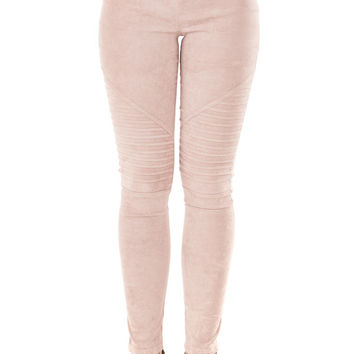 Dusty Blush Soft and Comfy Faux Suede Moto Leggings
