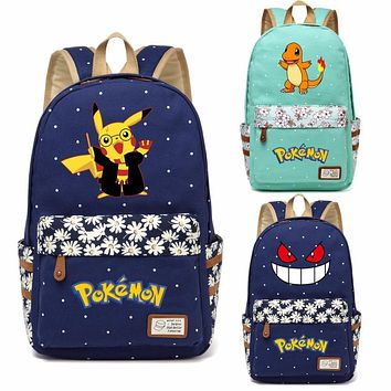 WISHOT Pokemon Pikachu Gengar Charmander Harry Potter Rucksacks backpack for teenagers Girls women School travel Shoulder Bag