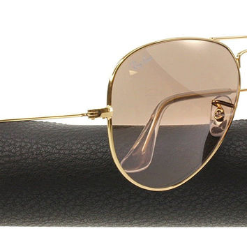 Ray-Ban AVIATOR GRADIENT 55mm Gold w/ Silver, Pink Mirror Sunglasses