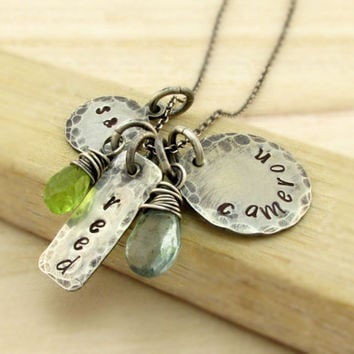 Rustic Personalized Family Necklace - Mothers Necklace - Antiqued Silver - Hand Stamped Antiqued Sterling Silver - Mommy Jewelry - Gemstones