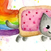 Nyan Cat Watercolor Art Print Giclee, Rainbow Poptart, Internet Meme Painting