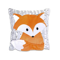 The Peanut Shell Woodland Dreams Grey/Orange Fox Decorative Pillow