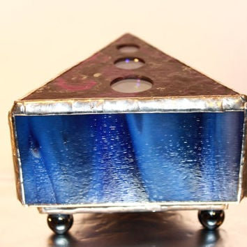 Stained Glass Box - Purple Glass Trinket Box, Living Room Decor