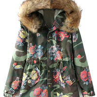 Floral Camouflage Print Hooded Coat