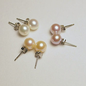 Cultured freshwater round pearl studs, AA+ pink, white, or lavender round pearl stud, pink, white, or lavender earring, .925 sterling silver
