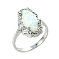 Sterling Silver Simulated Opal Gemstone Ring