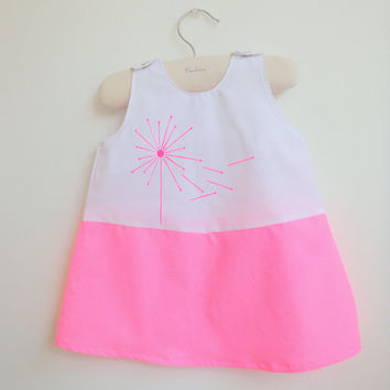 Dress - Jumper - French Style - Dandelion White and Neon Pink  - Baby Dress - Toddlers Dress- Girls Dress