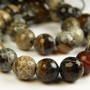 15 Inch Strand - 10mm Faceted Multicolor Agate Beads - Gemstone Beads - Jewelry Supplies