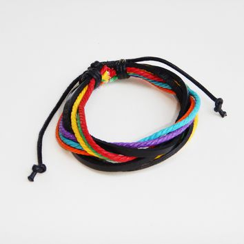 SPECIAL EVENT PRICING - Handmade Gay Pride Rainbow Leather Bracelet