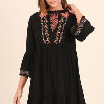 Umgee Embroidered Bell sleeves dress with Ruffled hem