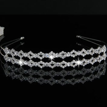Silver Plated Crystal Wedding Bride Bridal Headband Tiara Hair Band Prom = 1929772868