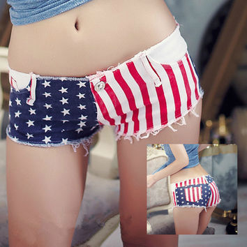 Jeans Shorts with US Flag 003