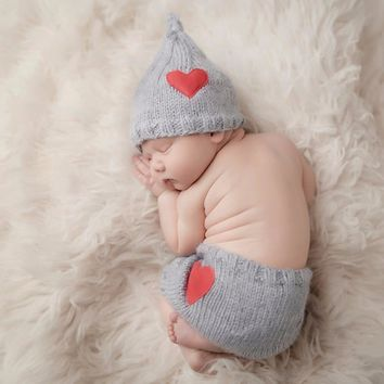 Newborn Baby Cute Crochet Knit Costume Prop Outfits Photo Photography Baby Hat Photo Props New born baby girls Cute Outfits 0-6M