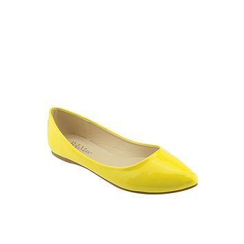Solid Glossy Surface Pointed Toe Flats