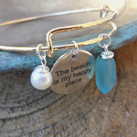 Beach Bangle Bracelet with Wire Wrapped Sea Glass