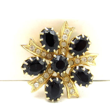 Black and Clear Rhinestone Gold Tone Round Pin Wreath Brooch Pin Statement Brooch Designer Vintage Estate Costume Jewelry Shawl Scarf  Pin