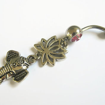 Lotus Elephant Belly Ring, Lotus Flower Belly Button Ring, Buddhist Om Belly Piercing, Yoga Inspired, Buddhist Body Jewelry, Namaste Pink