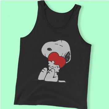 The Peanut Gang Snoopy Hug Heart Love Men'S Tank Top