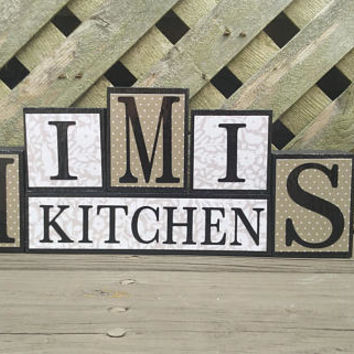 MIMI's Kitchen Block Sign - Wood and Vinyl - Block Sign - MiMi - Kitchen Decor - Tan and White - Shelf Decor - Small Block Set
