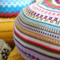 MEDIUM Upcycled Eco knit fairisle, floor cushion pouf hassock