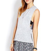 FOREVER 21 Mineral Wash Muscle Tee Grey Large