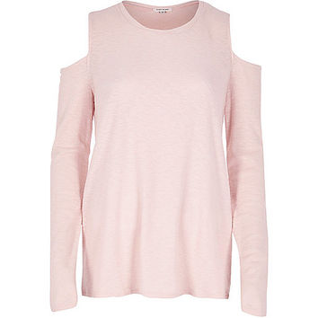 Pink space dye cold shoulder top