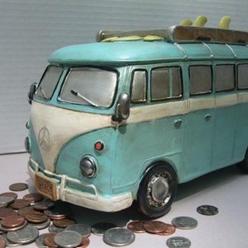 VW Retro Surfer Van Coin Piggy Bank