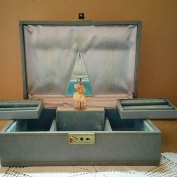 Vintage Mele Ballerina Jewelry Music Box Gray with Blue Velvet Lining