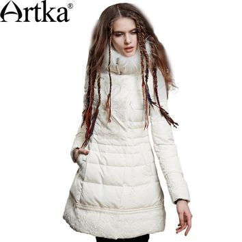 Artka Winter Down Coat Women Long Warm Parka With Fur Collar 2017 White Down Jacket Female Vintage Embroidery Overcoat ZK15158D
