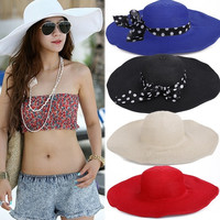 New Hot Summer Fashion Big Wide Brim Beach Sun Cap Straw Weave Hat Sun Hat WT F_F = 1902640452