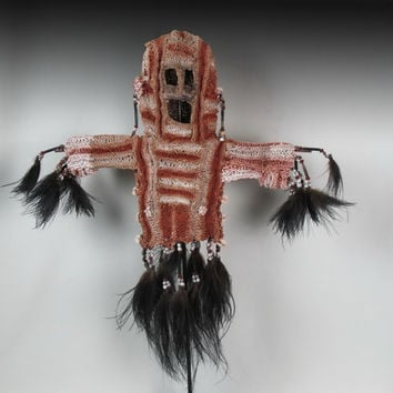 Woven Mask.Tribal Papua New Guinea Ceremonial Dance Mask Decorated With Seeds|Claws|Feathers.Oceanic Art | Body Mask