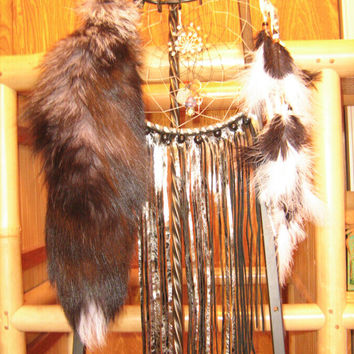 Silver Leather Fringed Dreamcatcher, totem to the fox, Native American Inspired, Large dreamcatcher in black and silver, native woven