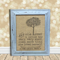 The Giving Tree Burlap Art Print - Baby Boy's Room - Nursery Decor - Baby Shower Gift - Newborn Gift