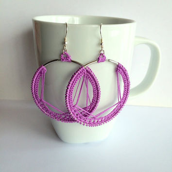 Lilac bridesmaid earring,Boho crochet hoop,Crochet earring,Nickel free earring,Lilac hoop earring,Lilac silver hoop,Boho bridesmaid earring