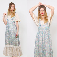 Vintage 70s PRAIRIE Dress LACE Hippie Maxi Dress Blue Floral Boho WEDDING Dress