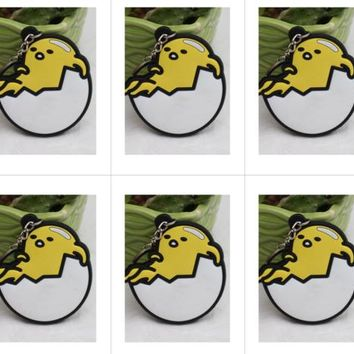 10pcs lots Gudetama lying on shell Bag Parts Mini Anime Action Figure Key Ring Kids Toy Pendant bag Chain Holder Accessories