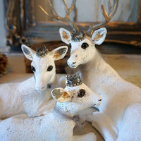 White deer statue set French Nordic painted buck family fawn doe figures accented w/ crowns shabby farmhouse home decor anita spero design