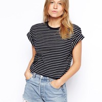 ASOS Cropped Boyfriend T-Shirt with Roll Sleeve in Stripe