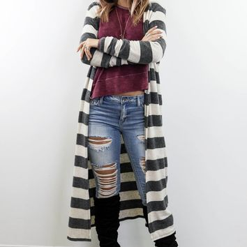 Hanging Around Charcoal & Taupe Striped Cardigan
