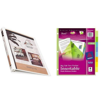 Bundle: Avery 0.5 Inch Economy View Binder (5706) with Avery Big Tab Two-Pocket Insertable Plastic Dividers, 8-Tabs (11907)