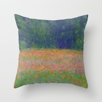 Colorful Floral Carpet Throw Pillow by Lena Photo Art