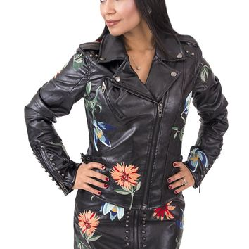 Women's Studded Leather Moto Jacket with Floral Embroidery