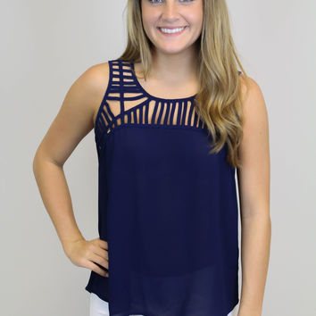 Navy Detail Tank Top