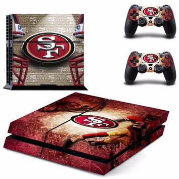 San Francisco 49ers PS4 Skin Sticker Decal For Sony PlayStation 4 Console and 2 Controllers PS4 Skins Stickers Vinyl